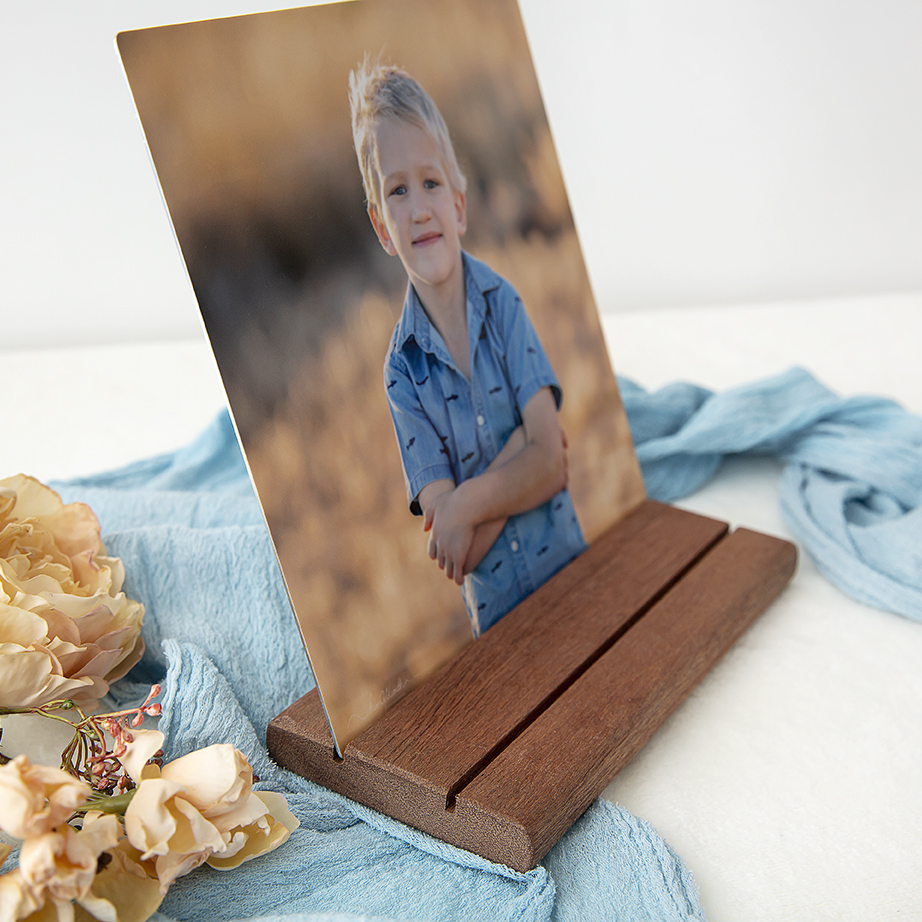 Timber stand with metal print